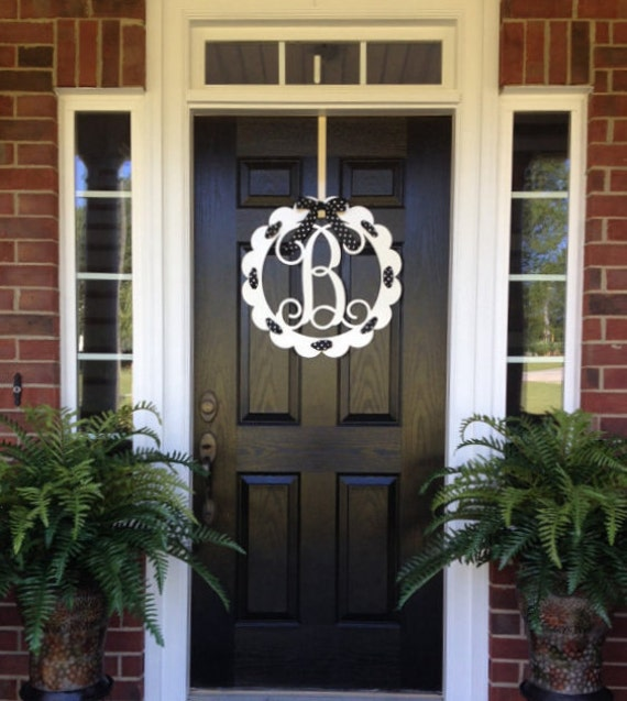 Monogram Front Door Decoration: Front Door Wreaths Metal Monogram Door Hanger/ By