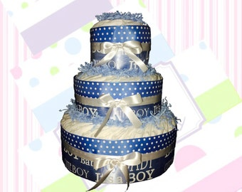 Blue and White Welcome Baby Diaper Cake Kit