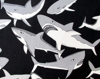 Fabric,Yikes Sharks, Alexander Henry, Great White Sharks on Black, By the Yard
