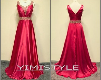 2015 red satin long evening prom dress , party dress, homecoming dress . evening dress in handmade
