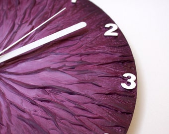Original Painting Purple WALL CLOCK, unique wall clock, modern wall clock, purple home decor, purple clock