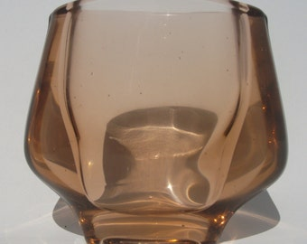 Sklo Union Hermanova Hut Amber glass winged vase Frantisek Vizner 20053