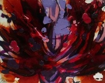 Original Mixed Media Art - Lotus Red