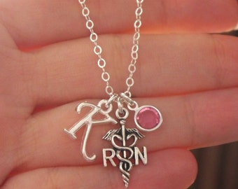 RN Graduation Gift, RN Necklace, rn Jewelry, Registered Nurse Necklace, Registered Nurse Gift, Personalized rn, rn charm necklace, CLCB