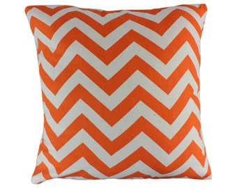 Orange and Natural Chevron Zig Zag Decorative Throw Pillow Covers Couch Pillow Covers Sofa Pillow Covers Zippered Pillow Monogrammed Pillow
