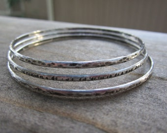 Ready to Ship Sterling Silver Bangle Bracelets|3 Hammered and Oxidized Bangles|Recycled Sterling Silver