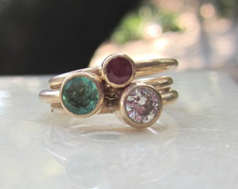 Gold Stacking Rings| Moissanite Emerald Ruby| Solid 14K Yellow Gold| Mother's Ring| Eco Friendly Birthstone Rings
