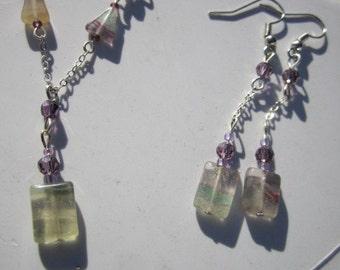 Gemstone necklace A delicate  Fluorite  drop pendant necklace