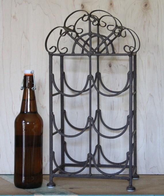 Rustic Wine Rack Storage For Six Wine Bottles Cast Iron