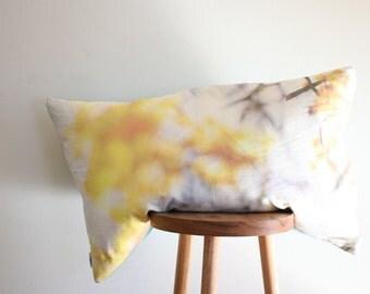 Good as Gold cushion - image of flowering wattle on organic cotton/hemp 50x80cm