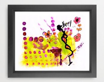 Happy - acrylic and ink painting, Giclée print, abstract art, modern home decor, wall art, lively joyful artwork, colorful, fun