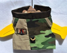 Military camouflage Dog puppy cat kitty pet toy Cartier-LP1538  prints Vests Top Harness Hand Made in USA COUTURE Exclusive