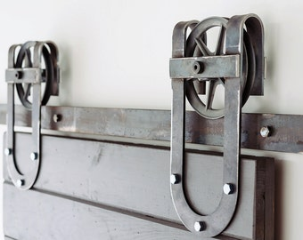 Superb Vintage Industrial Spoked Horseshoe Sliding Steel Barn Wood Door Closet  Hardware Track