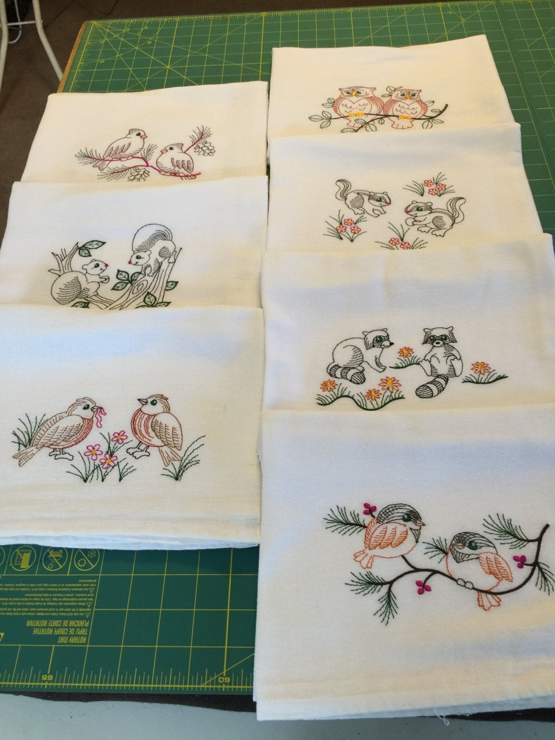 Machine Embroidered Flour Sack Dish Towel Set 7 Towels
