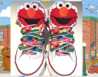 Cookie monster shoes / customised converse / elmo converse / sesame street / muppets / big bird / animal