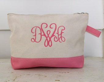 Monogrammed Canvas Zipper Pouch