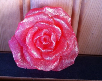 """Soap"""" Pink  Roses """" Set of 2 Total Weight 3.2 Oz Handmade Sparkle With Vegetable Glycerin & Kaolin clay Bathroom Decoration Gift Present"""