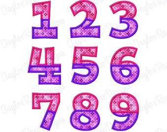 Split Chunky Fat Applique Block Number Set  0-9 Machine Embroidery Design 4x4 5x7 6x10 INSTANT DOWNLOAD