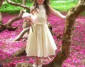 Beautiful Handmade Couture Flower Girl Dress, Wedding Clothing, Girl's Baptism Dress, Child's Flower Girl Dress, Georgette and Satin