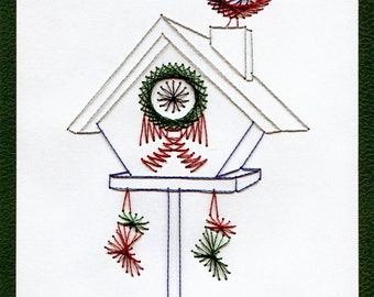 Hand Stitched Christmas Birdhouse Greeting Card
