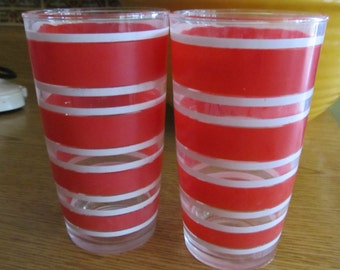 Set of 2 Small Retro Red Striped Orange Juice Glasses