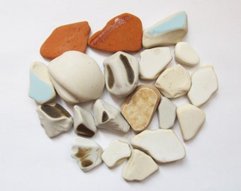 Beach pottery - 20 pieces sea pottery beach finds sea finds, white blue brick beach pottery large sea pottery (SP-5)