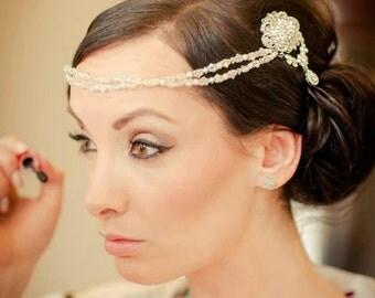 Pearl Crystal Bridal Drape Double Hair Comb - Forehead Boho Vintage