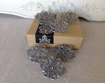 Message board pins - cork board push pins - thumb tacks - antique silver