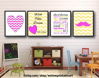 Girls Bedroom Art, Baby Girl Nursery, Girls Decor, Nursery Decor, Pink and Yellow, Girls Artwork, Quote Posters, Art Prints Nursery Wall Art