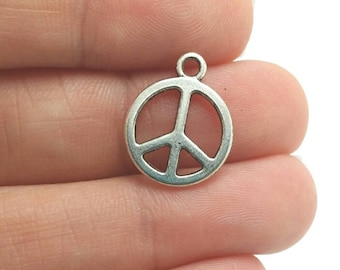 10 Peace Sign Charms, Silver Peace Sign Charms (1-1215)