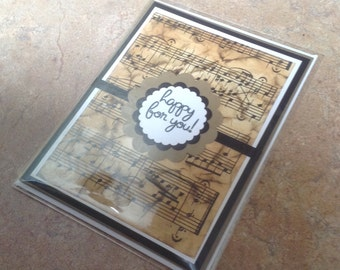 Vintage sheet music Greeting card Happy for You