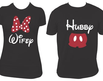 Wifey & Hubby Matching Mouse T-shirt - Custom Colors