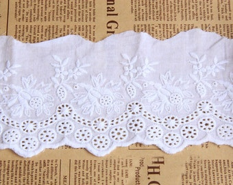 """Lace Trim White Cotton Fabric Flower Embroidery Wedding Fabric 3.93"""" width 2 yards"""