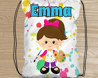 Personalized Drawstring Backpack for Kids - Artist Backpack for Girls - Kids' Art Supply Fabric Bag - Arts and Crafts Drawstring Backpack
