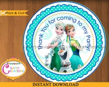 Frozen Fever Favor Tags - Sticker- Party Tags- Thank You Tags- Gift Tags- Birthday -Digital Printable- INSTANT DOWNLOAD - CraftyCrearionsUAE