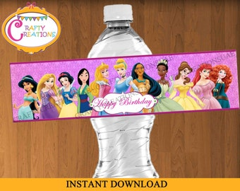 INSTANT DOWNLOAD - Disney Princess Water Bottle Labels - Princess Birthday Party Labels - Waterbottle Label - Printable - CraftyCreationsUAE