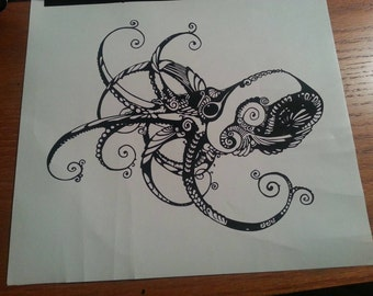 Octopus design vinyl decal for placement on a mixer machine