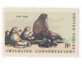 1972 8c Wildlife Conservation Series - Fur Seal - 10 Unused Vintage Postage Stamps -  Item No. 1464