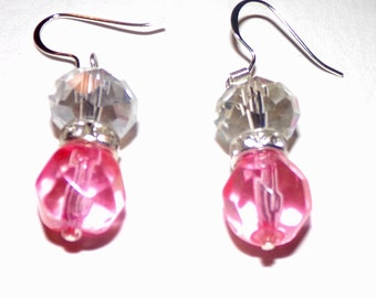 Pink Glass & White Austrian Crystal Earrings with Silver Hooks