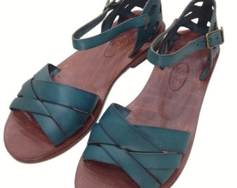 """SMINOS:  (Turquoise) Woven Leather Handmade leather sandals. """"custom size available"""""""