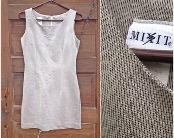 Vintage 80's Silver Twill Basic Mod Mini Dress by Mix It Up size medium