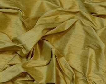 "Dull Gold Dupioni Silk, 100% Silk Fabric, 54"" Wide, By The Yard (S-260)"