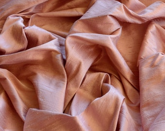 "Dusty Pink Dupioni Silk, 100% Silk Fabric, 54"" Wide, By The Yard (S-192)"