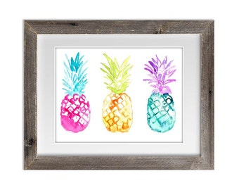 Watercolor Painting Print 'Playful Pineapples' -- Home/office decor and wall art, Summer prints