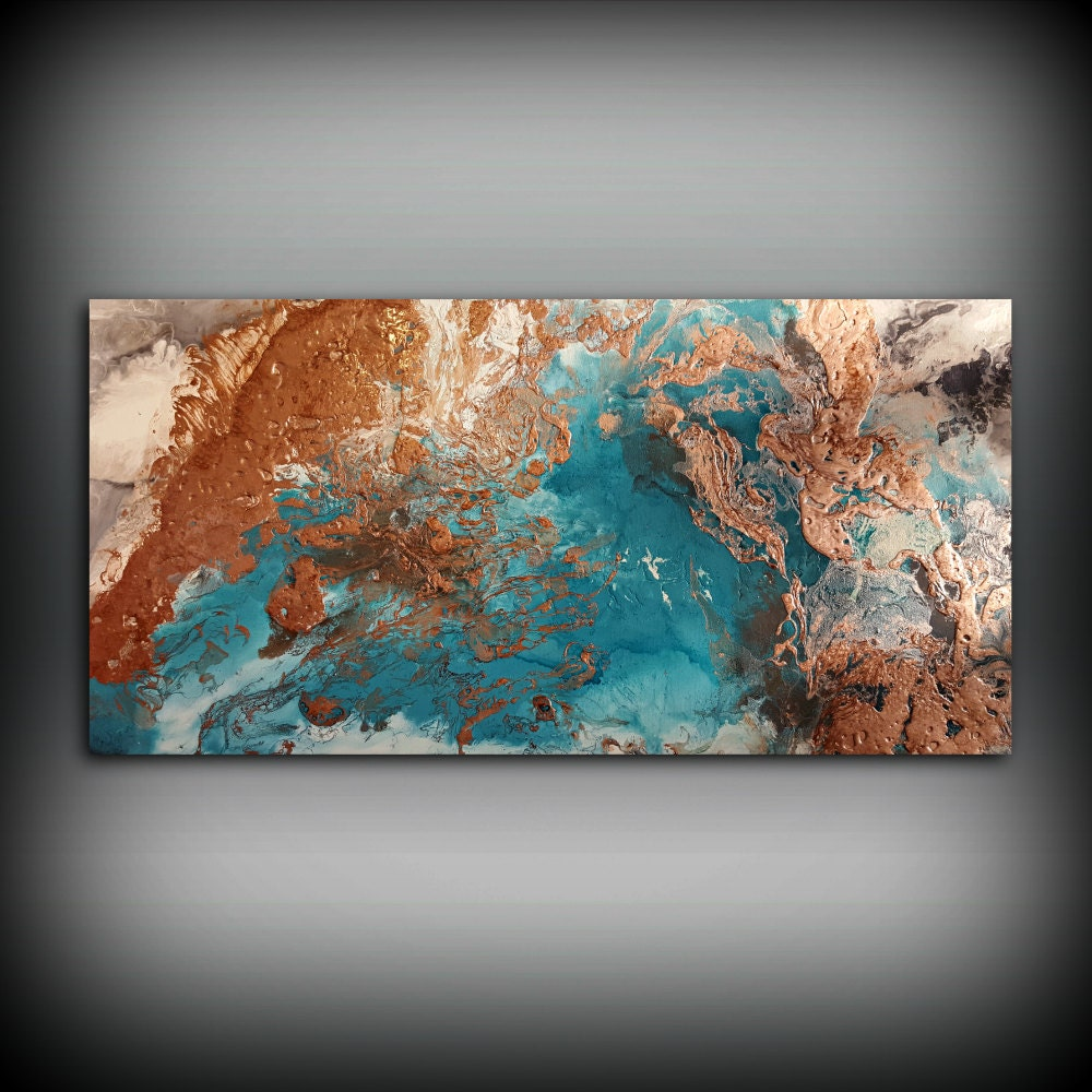 Copper coastal painting 41 x 72 acrylic painting on Large wall art