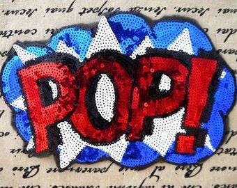 pop Sequined lace patch applique embroidered letter fabric clothes applique