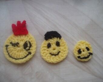 Crochet appliques/crochet smiley/ handmade crochet emoticon