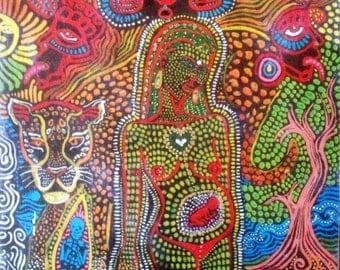 Hand Painted Original Wood Print Jaguar Tree of Life Seed ayahuasca art