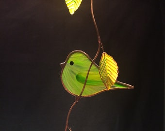 Green Signature Bird stained glass suncatcher