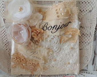 Shabby Chic Decor, Shabby Chic Sack, Boudoir Decor, Vintage French Paris Home Decor Ornament Decoration, Shabby Chic Sack
